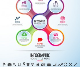 Circles infographic colored vector template 05
