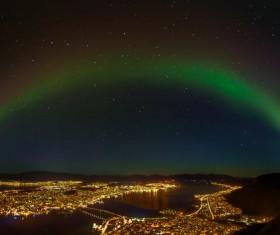 City night aurora Stock Photo