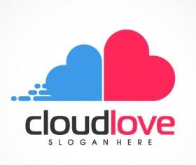 Cloud love logo vector