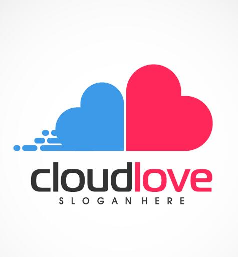 Cloud love logo vector