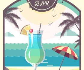 Cocktail summer bar poster template vector 01