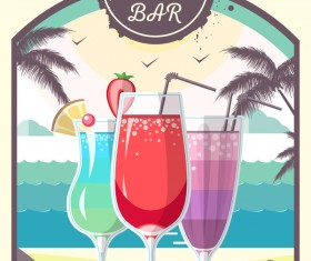 Cocktail summer bar poster template vector 02
