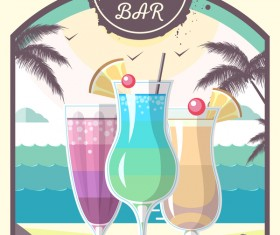 Cocktail summer bar poster template vector 03
