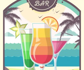 Cocktail summer bar poster template vector 04