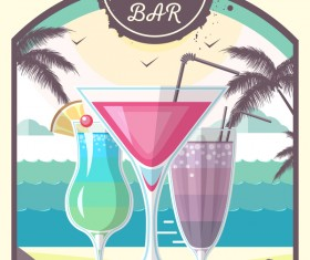 Cocktail summer bar poster template vector 05