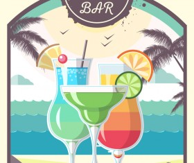 Cocktail summer bar poster template vector 06