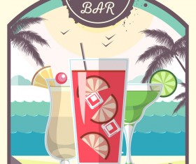 Cocktail summer bar poster template vector 07
