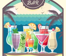 Cocktail summer bar poster template vector 08