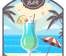 Cocktail summer bar poster template vector 09