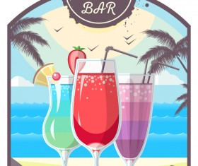 Cocktail summer bar poster template vector 10