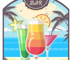 Cocktail summer bar poster template vector 12
