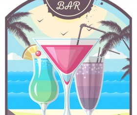Cocktail summer bar poster template vector 13