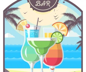 Cocktail summer bar poster template vector 14