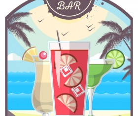 Cocktail summer bar poster template vector 15
