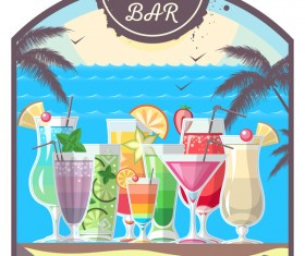 Cocktail summer bar poster template vector 16