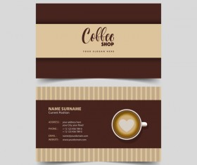 Coffee shop business card vector 03