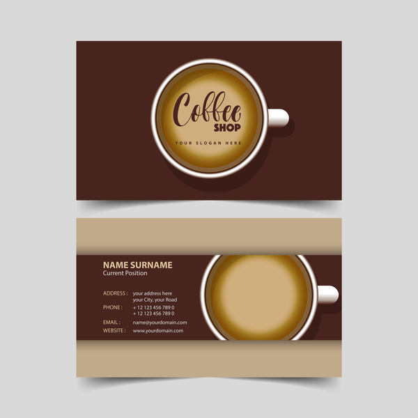 Coffee shop business card vector 04