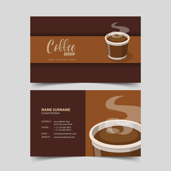 Coffee shop business card vector 06