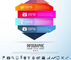 Colored banners with infographic template vector 03
