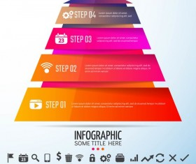 Colored banners with infographic template vector 04