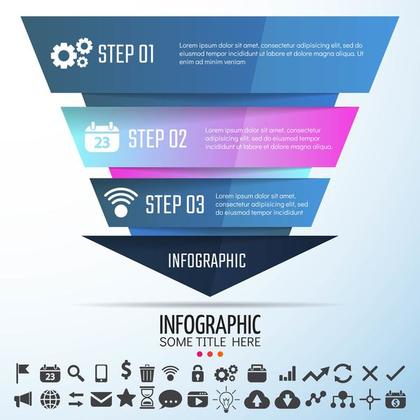Colored banners with infographic template vector 06