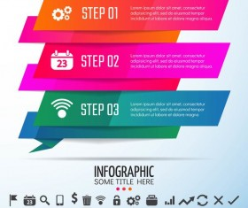 Colored banners with infographic template vector 07