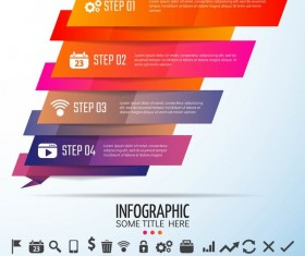 Colored banners with infographic template vector 08