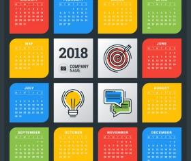 Colored creative 2018 calendar vector