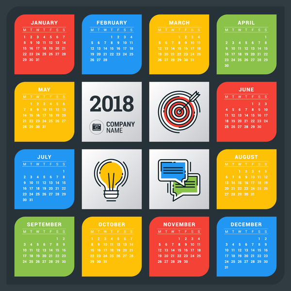 colored creative 2018 calendar vector
