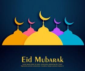 Colored eid mubarak background design vector
