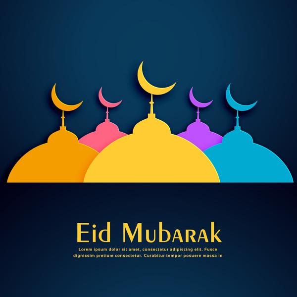colored eid mubarak background design vector free download colored eid mubarak background design