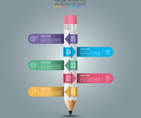 Colored pencil with infographic template vector 02