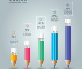 Colored pencil with infographic template vector 03