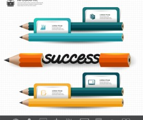 Colored pencil with infographic template vector 04