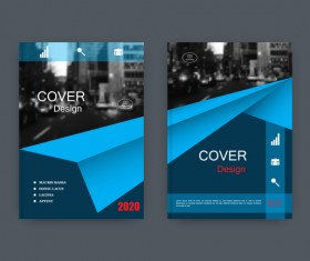 Corporate brochure cover blue styles vector 01