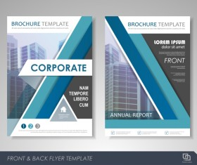 Corporate brochure cover blue styles vector 02