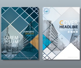 Corporate brochure cover blue styles vector 03