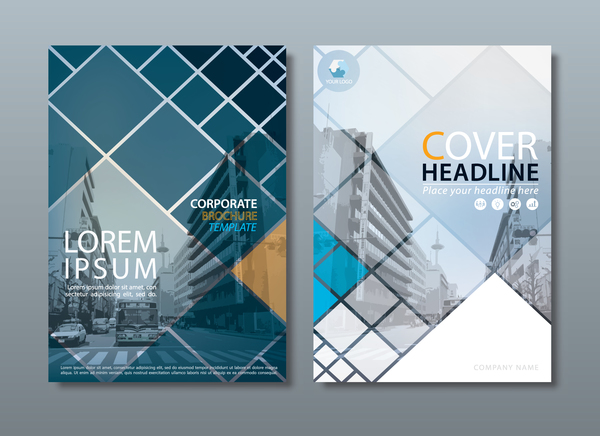 Corporate Brochure Cover Blue Styles Vector 03 Free Download