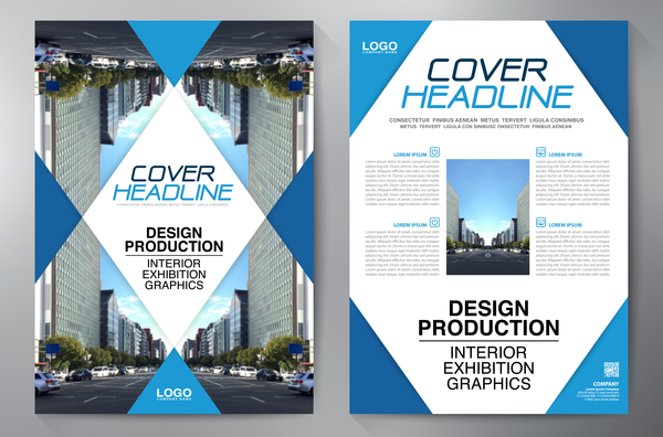 Corporate brochure cover blue styles vector 04