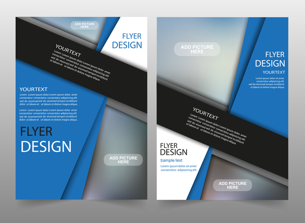 Corporate brochure cover blue styles vector 05