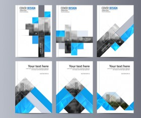 Corporate brochure cover blue styles vector 06