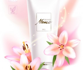 Cosmetic ads poster template with beautiful flower vector