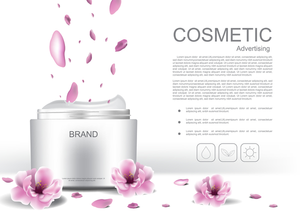 Cosmetic advertising poster with pink flower vector 01