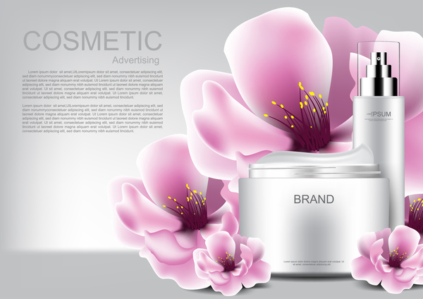 Cosmetic advertising poster with pink flower vector 03
