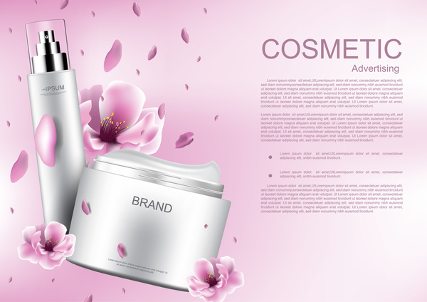 Cosmetic advertising poster with pink flower vector 04