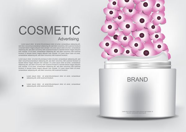 Cosmetic advertising poster with pink flower vector 07