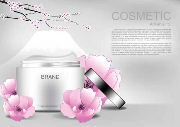 Cosmetic advertising poster with pink flower vector 08