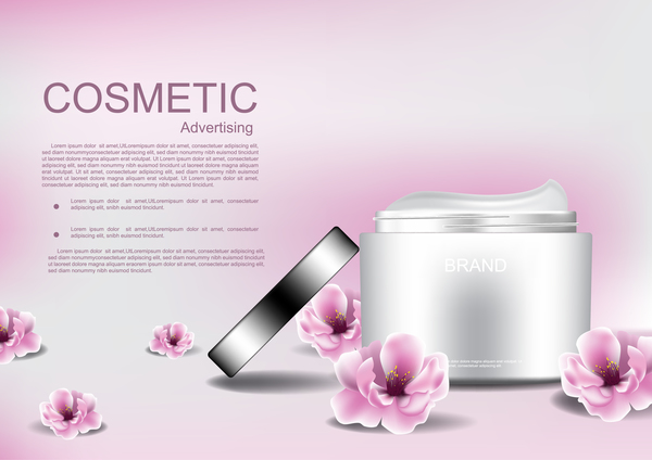 Cosmetic advertising poster with pink flower vector 09