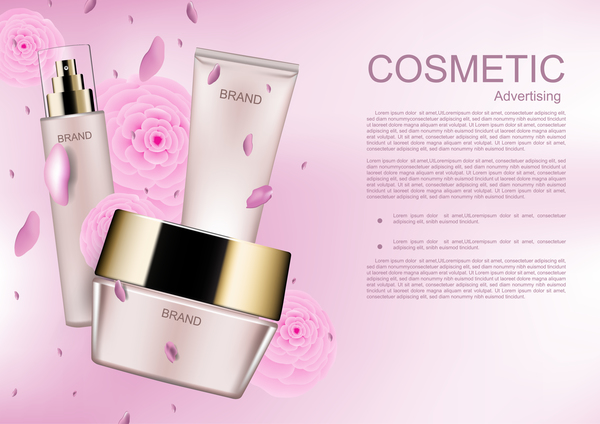Cosmetic brand poster with pink flower vector 02