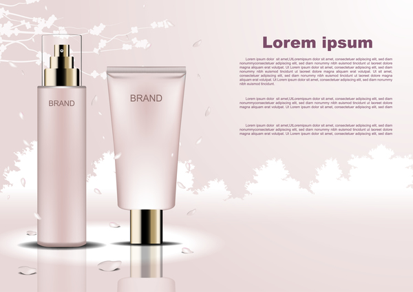 Cosmetic poster template with beige background vector 02